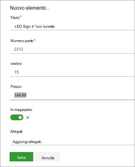 Modulo con un singolo elemento per un elenco