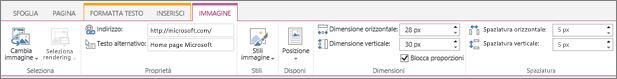 Screenshot di una sezione della barra multifunzione di SharePoint Online con la scheda Immagine selezionata e le selezioni disponibili nei gruppi Seleziona, Proprietà, Stili, Disponi, Dimensione e Spaziatura.