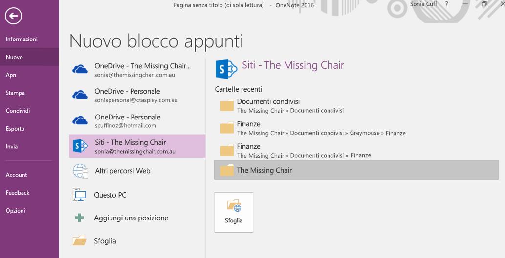Interfaccia di selezione della cartella di un nuovo blocco appunti di OneNote per Windows 2016