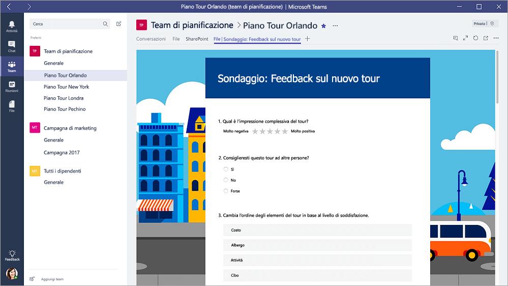 """Scheda moduli Teams Microsoft che mostra un modulo in modalità """"Riempimento"""""""