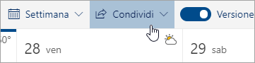 Screenshot del pulsante Condividi