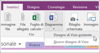 Screenshot del pulsante Inserisci diagramma in OneNote 2016.