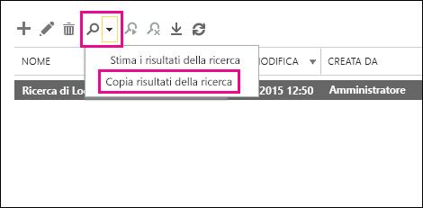 Fare clic su Cerca e quindi su Copia risultati della ricerca