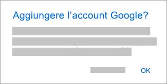 Toccare OK per consentire a Outlook di accedere ai propri account.