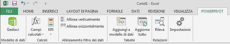 Scheda PowerPivot sulla barra multifunzione