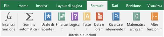 Scheda Formule sulla barra multifunzione di Excel