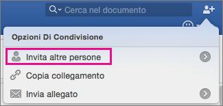 Invitare altre persone a visualizzare o modificare il documento facendo clic su Invita persone.