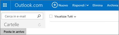 Aspetto della barra multifunzione in Outlook.com o Hotmail.com