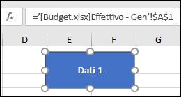 Forma selezionata per visualizzare il nome del collegamento nella barra della formula