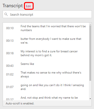 Modificare la trascrizione