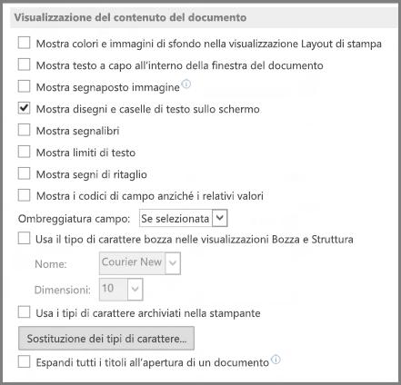 Opzioni di Visualizzazione del contenuto del documento di Word 2013