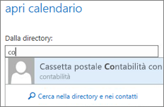 Finestra di dialogo Apri calendario di Outlook Web App