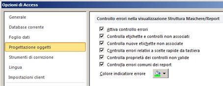 Impostazioni di controllo degli errori disponibili nella categoria Progettazione oggetti