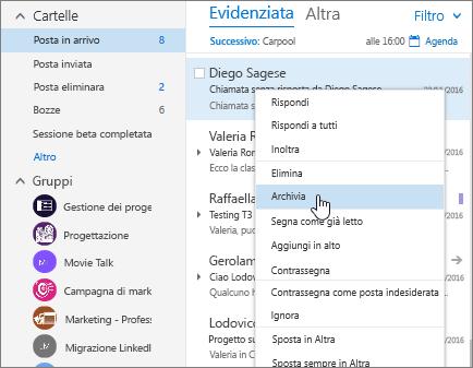 Screenshot della posta in arrivo con il menu di scelta rapida di un messaggio e il comando Archivia selezionato.