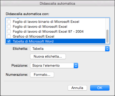 Aggiungere automaticamente didascalie per le nuove tabelle e altri oggetti che si inserisce