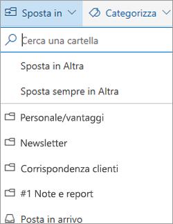 Posta in arrivo evidenziata in Outlook sul Web