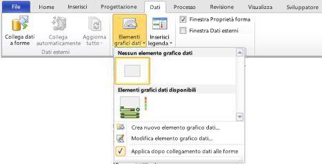 Selezionare Nessun elemento grafico dati per rimuovere un elemento grafico dati dalla forma.