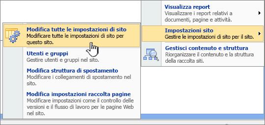 Opzione Modifica tutte le impostazioni di sito in Impostazioni sito