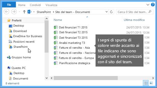 Usare Esplora file per passare al file sincronizzato nel desktop. È nella cartella SharePoint.