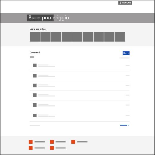 La home page di Office 365