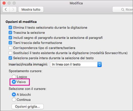 Opzioni per il movimento del cursore nella finestra di dialogo Modifica