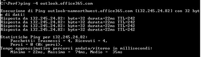Richiesta di Ping ad outlook.office365.com che mostra il DNS e l'indirizzo IP di namnorthwest.