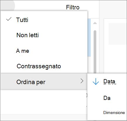 Una schermata mostra l'ordinamento dall'opzione selezionato dal controllo filtro per i messaggi di posta elettronica.