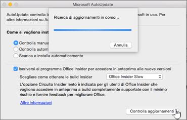 Controllo degli aggiornamenti Insider Slow su Mac