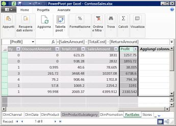 Colonna calcolata in PowerPivot