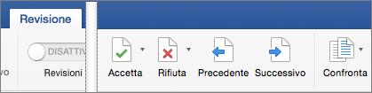 Nella scheda Revisione sono visualizzate le opzioni Accetta, Rifiuta, Precedente e Successiva