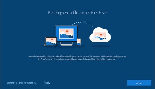 Schermata di protezione dei file con OneDrive nell'installazione di Windows 10