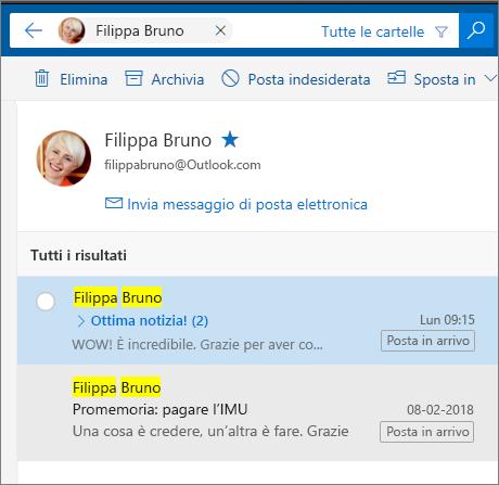 Cercare una persona per visualizzare tutti i suoi messaggi di posta elettronica