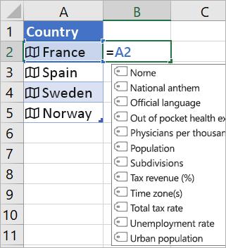 """La cella A2 contiene """"Francia""""; La cella B2 contiene =A2. e viene visualizzato il menu Completamento automatico formule con i campi del record collegato"""