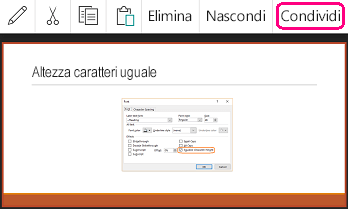 Comando Condividi in PowerPoint per Android