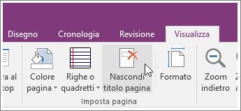 Screenshot del pulsante Nascondi titolo pagina in OneNote 2016.