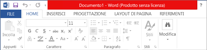 Messaggio Prodotto disattivato visualizzato sulla barra del titolo rossa, con l'interfaccia disabilitata e li banner del messaggio