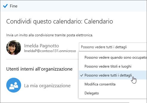 Screenshot del riquadro Condividi calendario con le opzioni di accesso