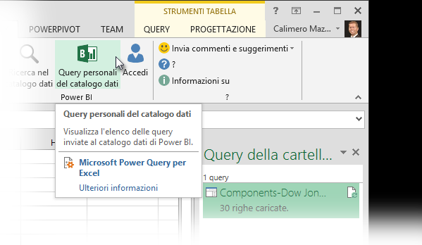 Mostra query catalogo dati