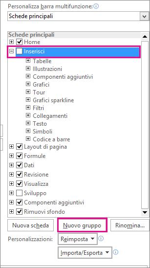 Pulsante Nuovo gruppo nelle opzioni di Personalizzazione barra multifunzione di Excel
