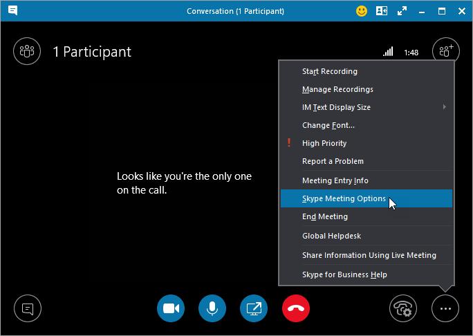 Finestra di dialogo Altro con la voce Opzioni riunione Skype evidenziata