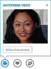 Schermata di un'anteprima del video con l'opzione Attiva webcam selezionata