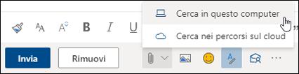 Screenshot del menu Allega con Computer selezionato