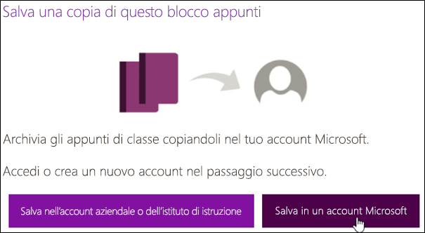 Salvare in un account Microsoft
