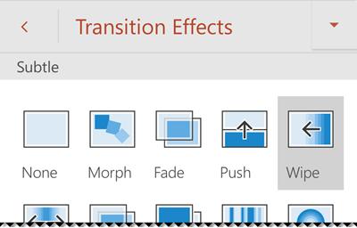 Opzioni per gli effetti di transizione in PowerPoint per telefono Android.