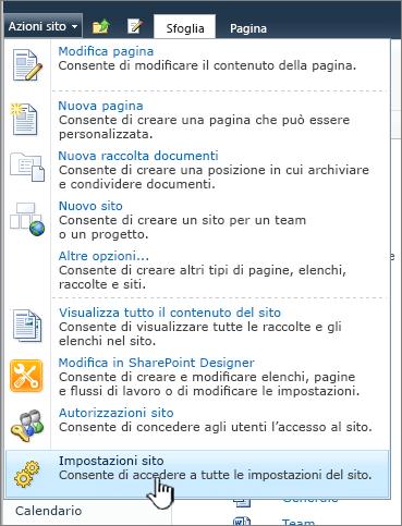 Impostazioni sito nel menu Azioni sito