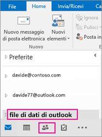 """Outlook aggiunge il file PST con il nome generico """"file di dati di Outlook""""."""