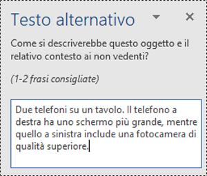 Riquadro testo alternativo con un esempio di testo alternativo in Word per Windows.