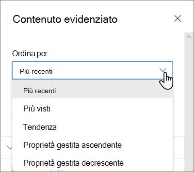 Opzioni ordina per per la web part Contenuto evidenziato nell'esperienza SharePoint moderna