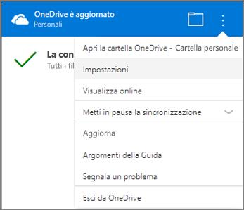 Altre impostazioni nel centro attività di sincronizzazione di OneDrive