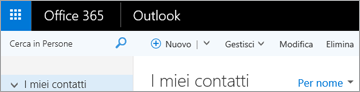 Aspetto della barra multifunzione di Outlook sul Web.